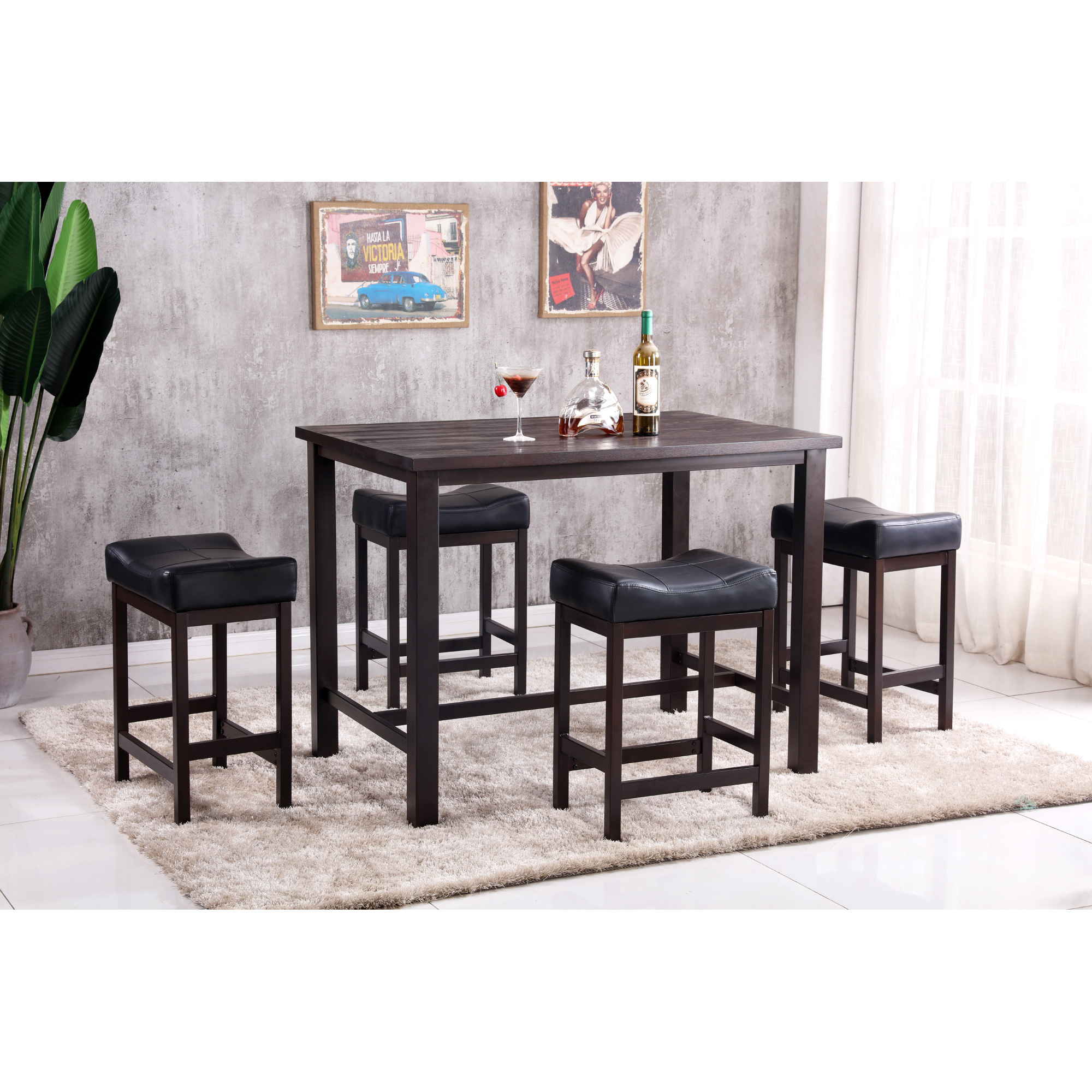 Lifestyle Furniture | Stanley Rustic Walnut 5 Piece Dining Set