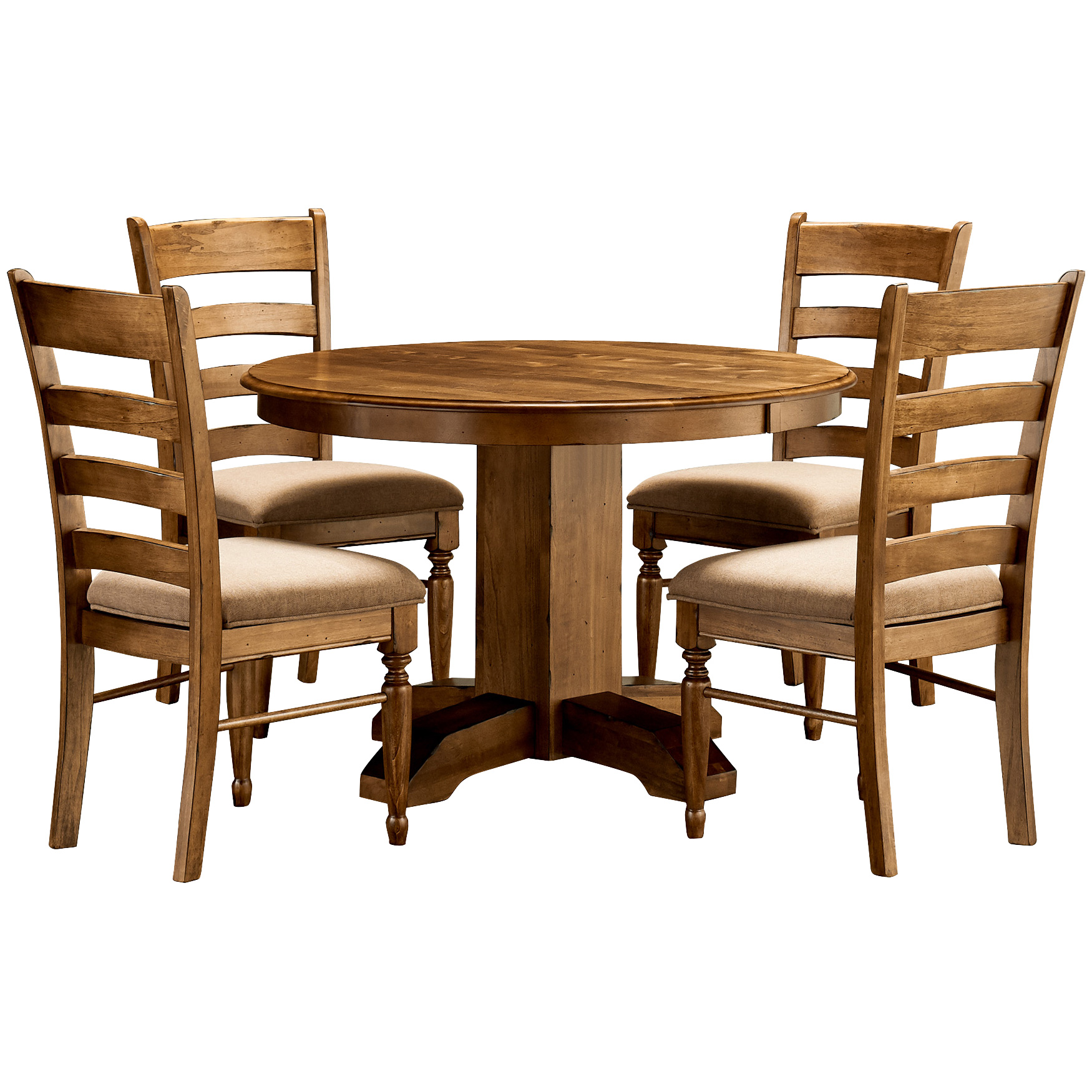 America | Bennett Smokey Quartz 5 Piece Upholstered Round Dining Set