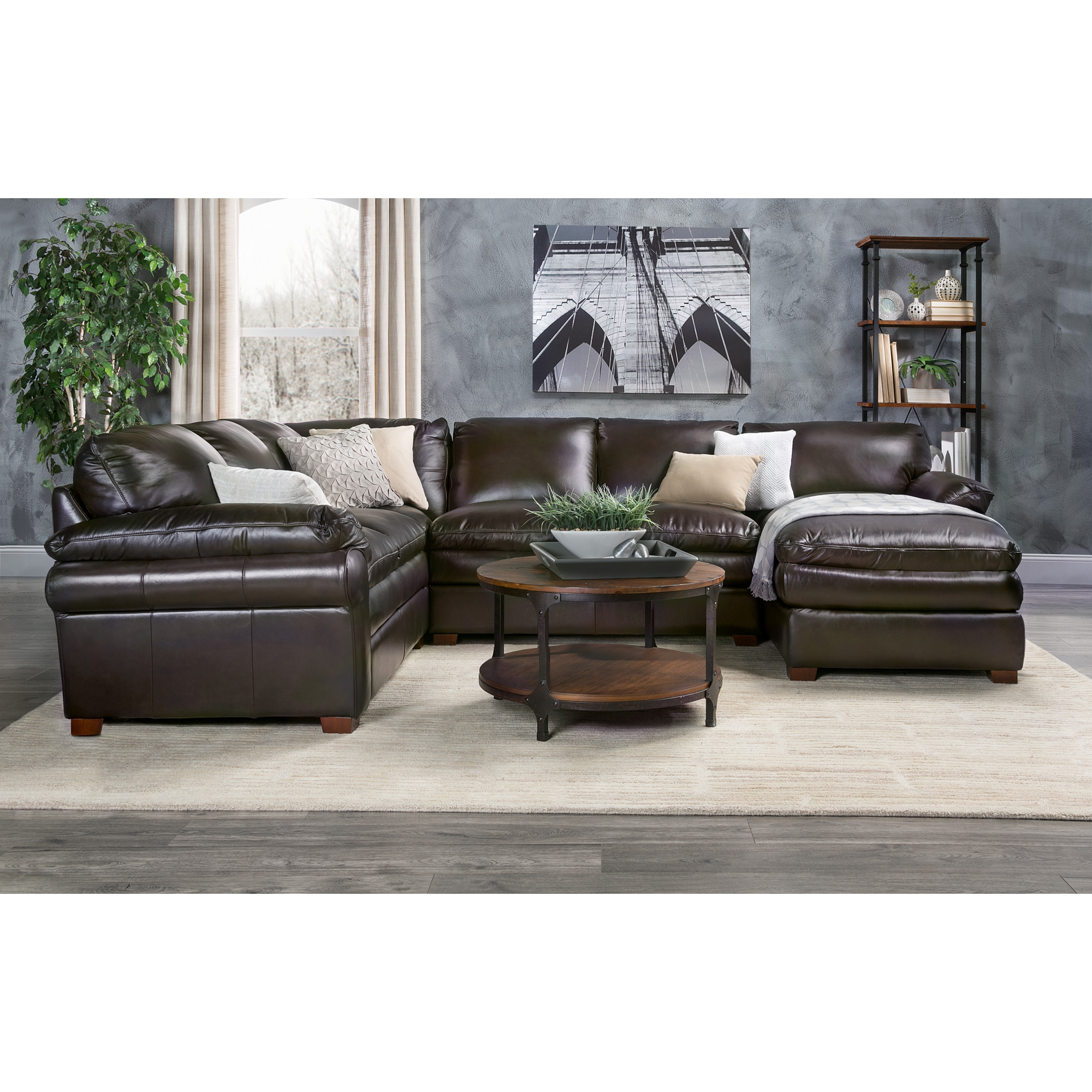 Futura Leather | Moldova Brown Right Arm Chaise Sectional Sofa