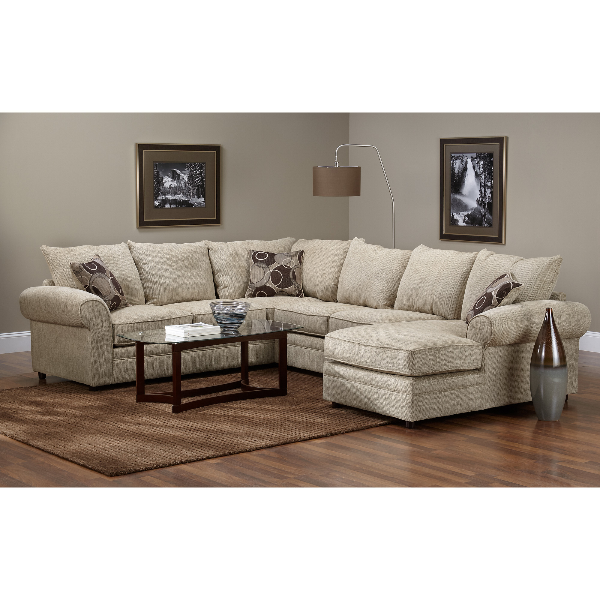 Serta Upholstery By Hughes Furniture | Bridgetown 3 Piece Tan Sectional Sofa