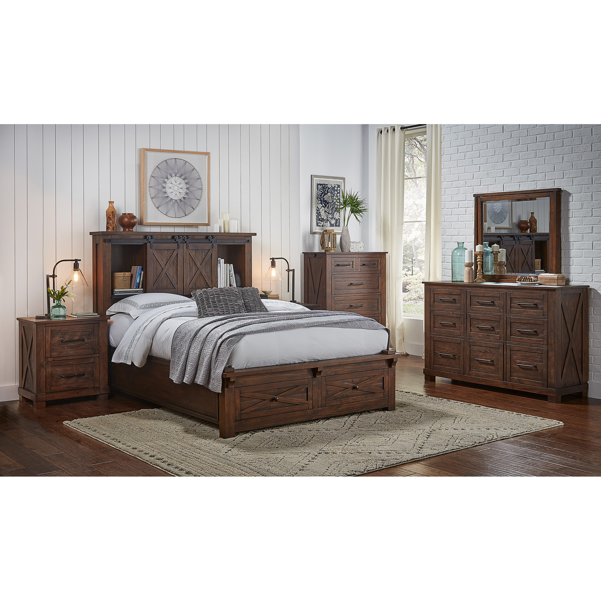 America | Sun Valley Rustic Timber King Storage 4 Piece Room Group Bedroom Set