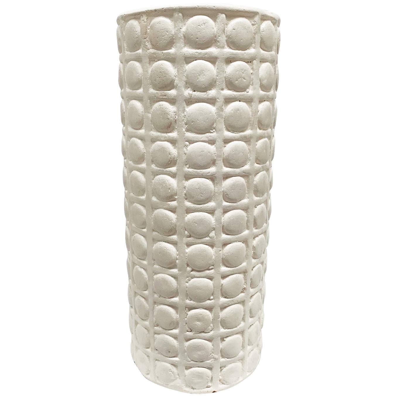 Promart | Terracotta Cilindro Esferas White Medium Cylinder Floor Vase
