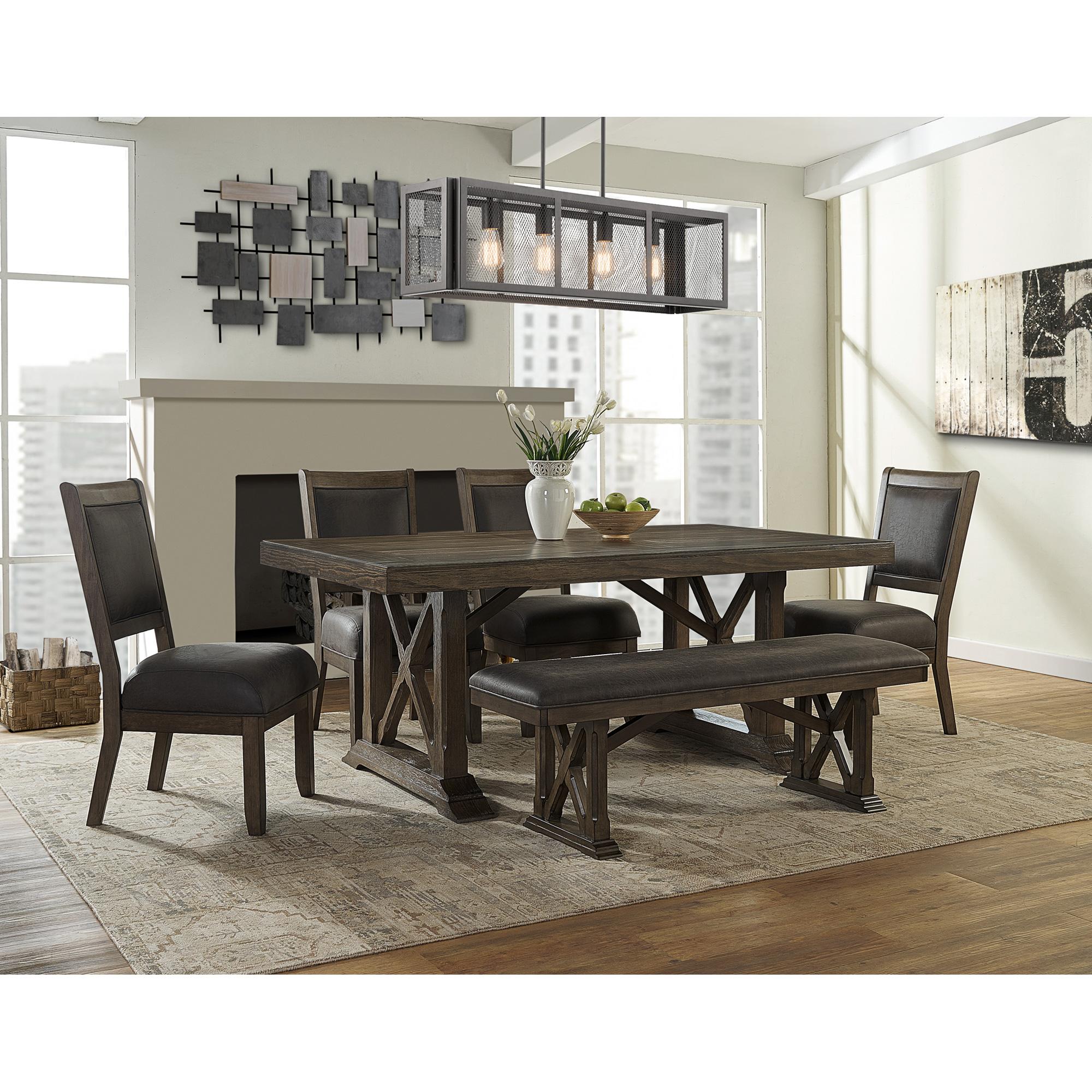 Whalen Furniture | Lawton Rustic Brown 5 Piece Dining Set