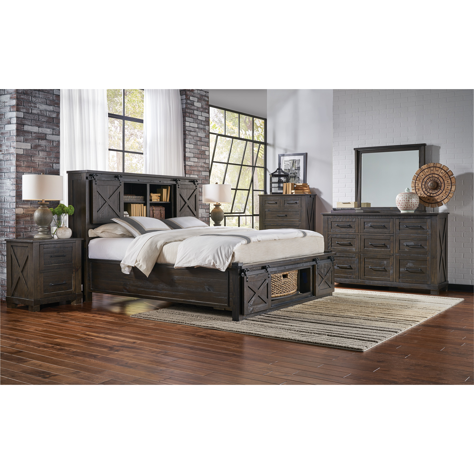 America | Sun Valley Charcoal King Rotating Storage 4 Piece Room Group Bedroom Set