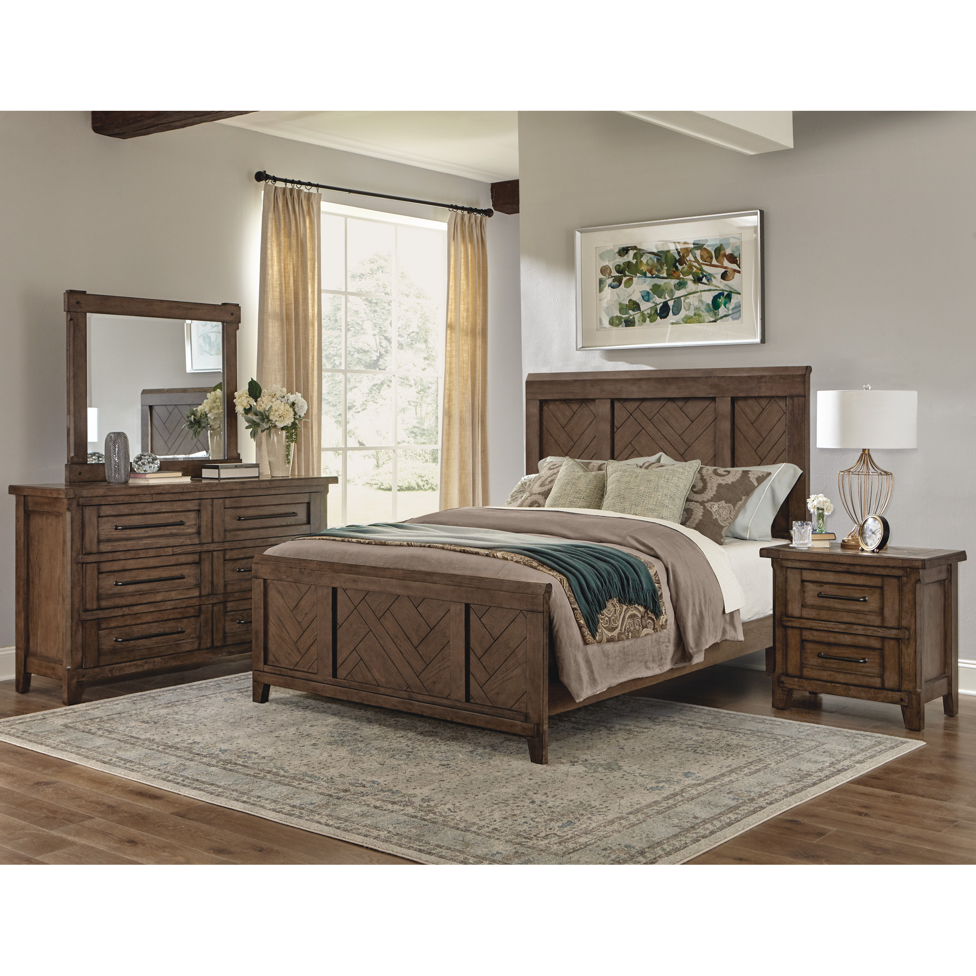 Davis Direct | Patches Gray Brown King Panel 4 Piece Room Group Bedroom Set